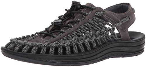 KEEN Men's Uneek Leather-m Sandal, Magnet/Black Sc, 8.5 M (Mesh Mens Sandals)