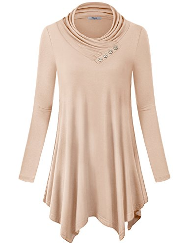 Cestyle Pleated Dress Shirt Women, Tops Long Sleeve Cowl Neck Casual Juniors Sweatshirt Sweater Tunic Shirt Dress Beige Large ()
