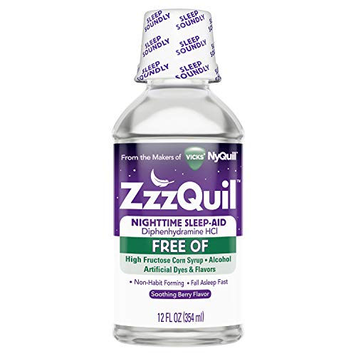 ZzzQuil Nighttime Sleep Aid Liquid, 12 fl oz, FREE OF Alcohol and Artificial Dyes, Soothing Berry Flavor