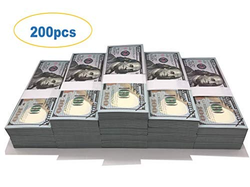 Motion Picture Money Prop Money Full Print 2 Sided $100 Dollar Bills Realistic Money Stacks,Copy Money Play Money That Looks Real for Movie,Videos, Birthday Party