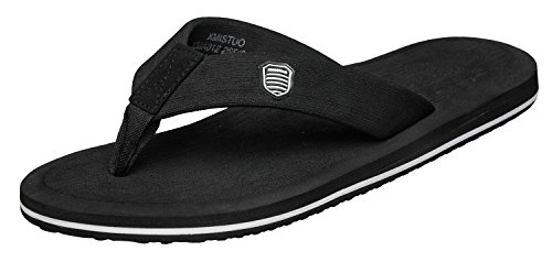 Norocos Mens Sandals Light Weight Shock Proof Slippers Flip Flops,Black,11 DM US
