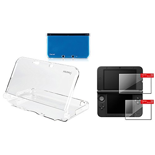 Insten Clear Crystal Case + 2-LCD Kit Reusable Screen Protector Compatible With Nintendo 3DS XL