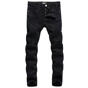 ZLZ Slim Fit Biker Jeans, Men's Super Comfy Stretch Skinny Biker Denim Jeans Pants