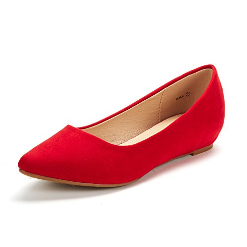 - DREAM PAIRS Women's Jilian Red Suede Low Wedge Flats Shoes - 9 M US