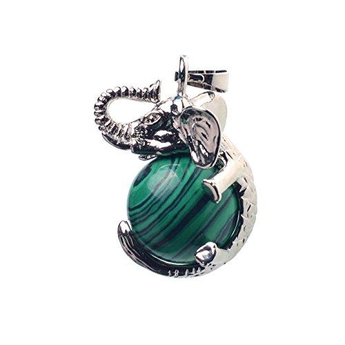 ZHEPIN Healing Chakra Gemstone Natural Howlite Balls Silver Alloy Elephant Mens Pendant Necklace Chain ()