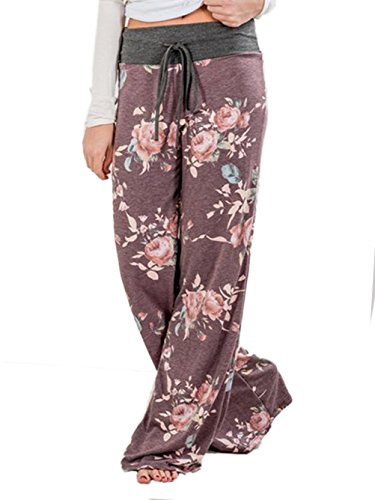 iChunhua Women's Comfy Stretch Floral Print Drawstring Palazzo Wide Leg Lounge Pants 3XL Purule -