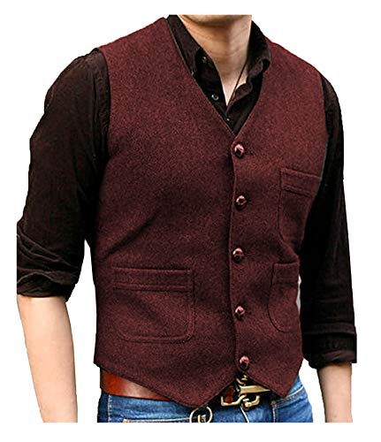 - Pretygirl Men's V Neck Wool Herringbone Tweed Casual Waistcoat Business Suit Vest (L,Burgundy)