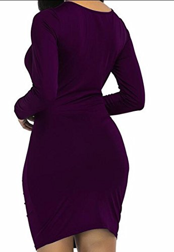 Delle Partito Club Abito Manica Donne Scollo Increspato Mini A Lunga Domple Viola Bodycon V rqrgPw