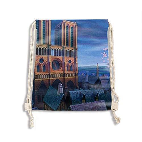 (Drawstring Backpack Sports Notre Dame De Paris Athletic Gym String Bag Cinch Sack Gymsack Sackpack)