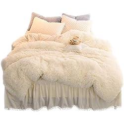 LIFEREVO Luxury Plush Shaggy Duvet Cover Set (1 Faux Fur Duvet Cover + 2 Pompoms Fringe Pillow Shams) Solid, Zipper Closure (King Light Beige)