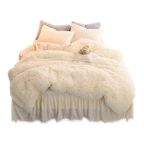 (LIFEREVO Luxury Plush Shaggy Duvet Cover Set (1 Faux Fur Duvet Cover + 2 Pompoms Fringe Pillow Shams) Solid, Zipper Closure (Queen Light)
