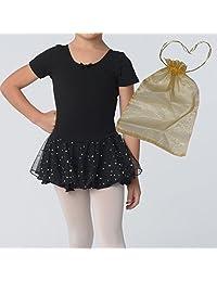 Danshuz Girls Short Sleeve Leotard with Attached Sparkle Skirt Bundled with Bag