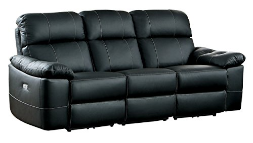 Homelegance Nicasio Contemporary All Genuine Leather Power Reclining Sofa, Black - Contemporary Reclining Sofa