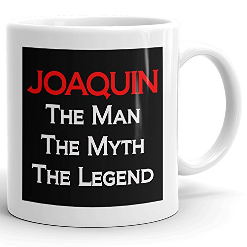 Joaquin Coffee Mugs - The Man The Myth The Legend - Best Gifts for men - 11oz White Mug - Red