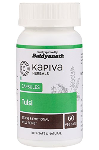 Holy Basil Tulsi (Ocimum tenuiflorum) 60 Veggie Capsules 500 mg Supplement for Fighting Acne Balances Hormones and Lowers Stress & is a Best Source of Vitamin K