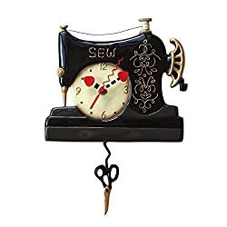 Allen Designs Vintage Stitch Whimsical Sewing Machine Pendulum Wall Clock