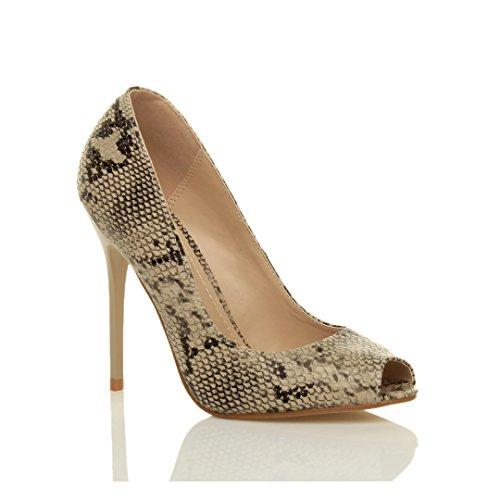 Talon Simple Sandales Femmes Chaussures Ouvert Escarpins Serpente Noir Bout Haut fête Pointure Beige et tw8Cxq8d1