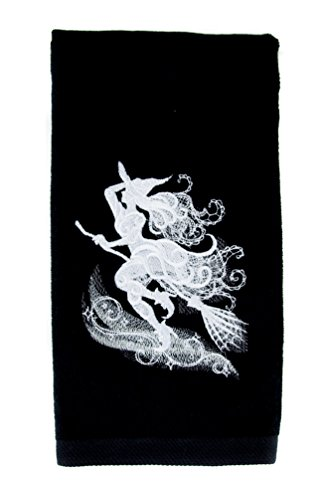 YDS Accessories Wicked Witch on Broom Stick Halloween Hand Towel Kitchen and Bath Gothic Home Decor]()