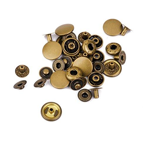 D DOLITY DIYクラフト 留め具 スナップファスナー ボタン 10セット 耐久性 真鍮 ブロンズ の商品画像