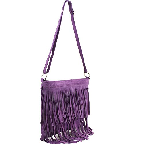 Suede Fringe Purple Tassel Bag Real Body Black Leather Cross tSn81wqwdx
