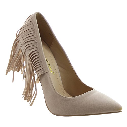 CHASE & CHLOE PLAZA-5 Womens Pointed Toe Fringe Stiletto Heel Dress Pumps, Color:NUDE, Size:8