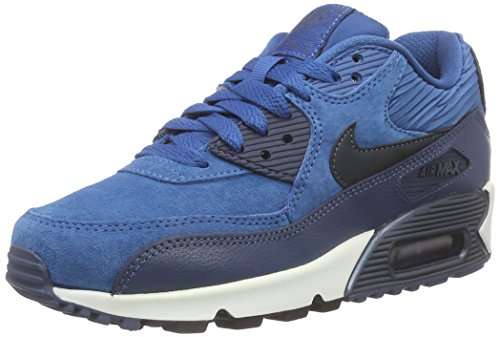 Nike Air Max 90 Leather - Zapatillas de running Mujer Azul - Blau (Brgd Bl/Mtlc Armry Nvy-Sqdrn B)