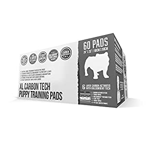 Bulldogology Carbon Black Puppy Pee Pads with Adhesive Tape - Extra Large Dog Training Wee Pads - (24x35 XL, 60-Count)