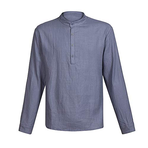 fb080bc10c vermers Clearance Men Casual Linen Long Sleeve T-Shirt Fashion V-Neck  Button Up Shirts Business Fit Blouse Tops(2XL, Gray)