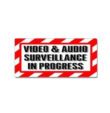 Video Audio Surveillance In Progress Sign Alert Warning Window Business Sticker