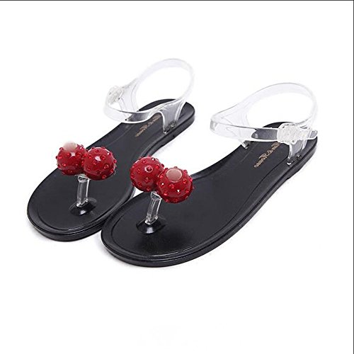 JUWOJIA Sweet Fruit Cherry Strawberry Jelly Shoes Summer Summer Beach Beach Sandals Crystal Candy Shoes. Strawberry transparency