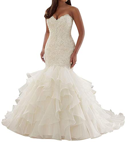 Mermaid Wedding Dress for Brides, Sweetheart Appliques Beading Organza Ruffles Court Train Wedding Gowns Ivory