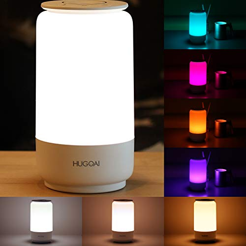 HUGOAI LED Table Lamp, Bedside Lamp, Nightstand Lamps for Bedrooms with Dimmable Whites, Vibrant RGB Colors and Memory Function, No Flicker - White