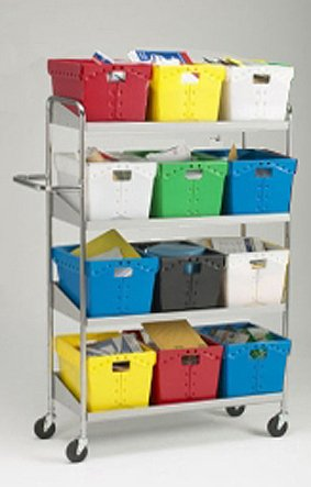 Charnstrom Long Four Shelf Mobile Cart, Totes Not Included (B163) by Charnstrom