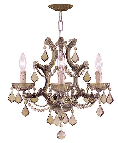 Crystorama 4474-AB-GT-MWP Crystal Four Light Mini Chandelier from Maria Theresa collection in Brass-Antiquefinish, 16.50 - Crystal Ab Gt Mwp