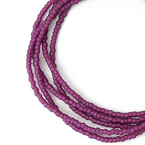 Purple Seed Bead Necklace-Magenta Single Strand-Short to Long