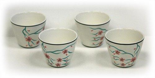 (4 Piece 6 Oz. Cherry Blossoms Tea/Saké Cup Set by Hues & Brews)