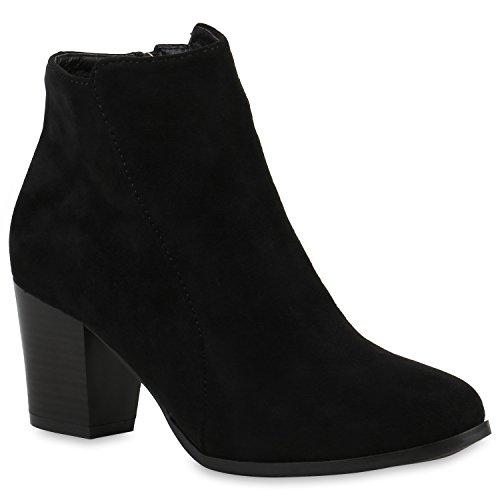 Stiefelparadies Klassische Damen Stiefeletten Leder-Optik Boots Block Absatz Flandell Schwarz