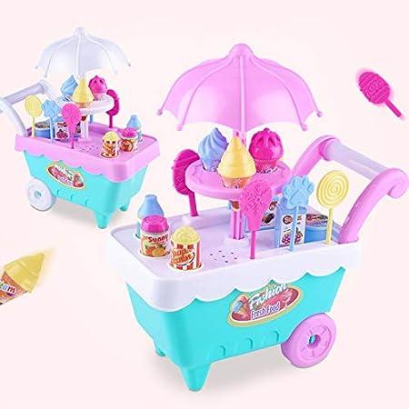 ROKOO Juego de rol de niños Juguetes Carro de Mini Dulces Carro de la Tienda de Helados Desmontable Juguete: Amazon.es: Juguetes y juegos