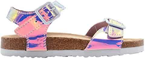 f3be9ed69f9 dELiAs Girls Footbed Sandal Metallic Holographic Slip On Slide Shoe with  Buckle Embellishment