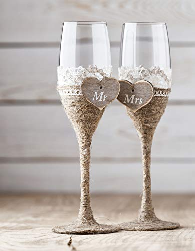 Groom Crochet - Wedding Toasting Flutes, Rustic Toasting Glasses Decorated with Twine Rope and Crochet Lace, Wedding Champagne Flutes, Bride and Groom Wedding Glasses, Bridal Shower Gift