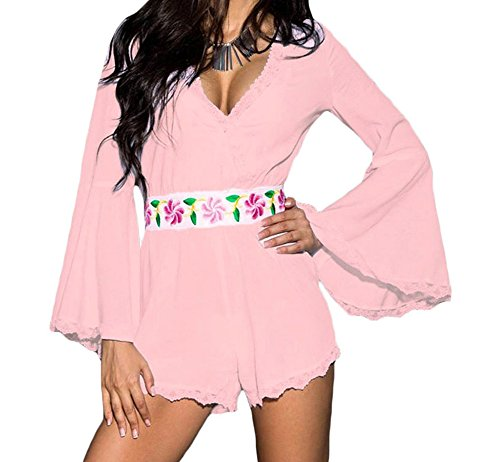 YeeATZ Bell Sleeve Scalloped Lace Trim Belted Playsuit(Pink,M) by YeeATZ