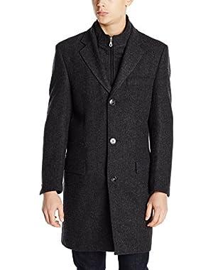 Calvin Klein Men's Modesto Charcoal Herringbone Overcoat