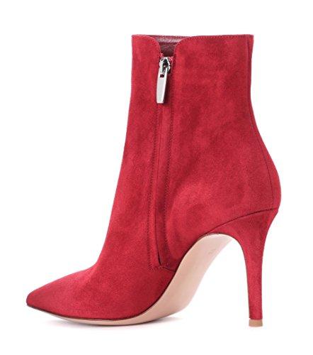 Red Fourrées Zippées Suede Pointues Femme Bottes Aiguilles Talons Edefs Bottines qw8TO1Z