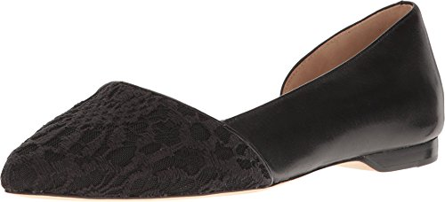 Cole Haan Women's Amalia Skimmer Black Lace/Leather Flat (Black Womens Skimmer)