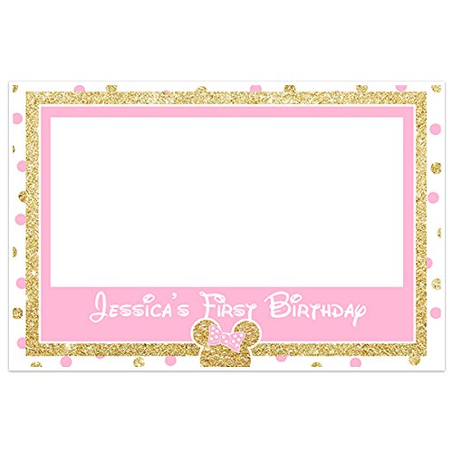 Amazon.com: Minnie Pink and Gold Selfie Frame Social Media Frame ...