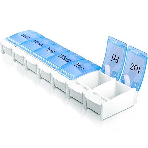 Push Button Pill Organizer, 7 Day Push-to-Open Pill Box, Portable Travel Prescription & Medication Pill Case, Vitamin Fish Oil Compartments Container