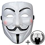 Jessters Anonymous Mask Plus Sticker, Guy Fawkes V for Vendetta, White Hacker Mask Bundled With Sticker.