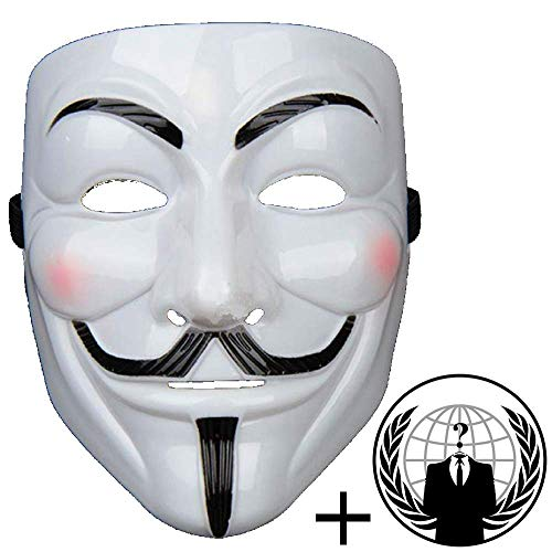 Jessters Anonymous Mask Plus Sticker, Guy Fawkes V for Vendetta, White Hacker Mask Bundled With Sticker. -