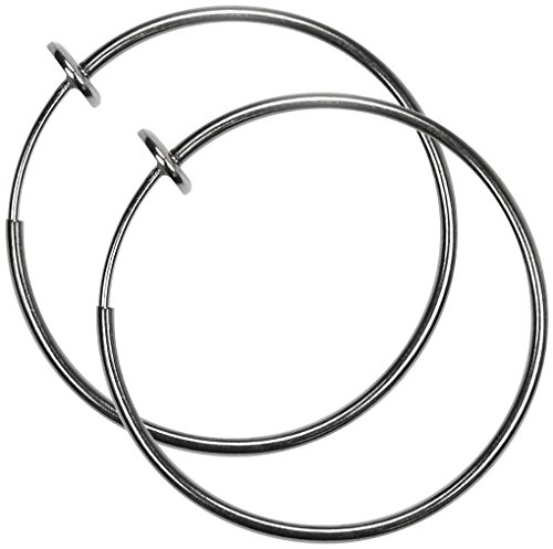 Pair of Large 1 & 3/8 inch Gunmetal Gray Non Pierce Clip on Hoop Earrings for Teens-Women