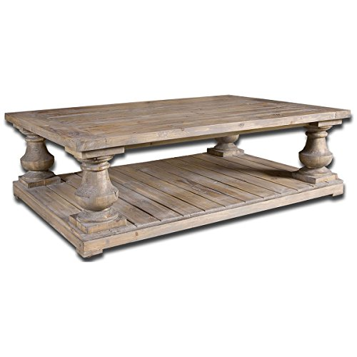 Uttermost Stratford Rustic Cocktail Table, Stony Gray Wash (Stephanie Table Coffee)